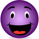 A Purple Smiley Face symbolising Laughter Yoga with Clare